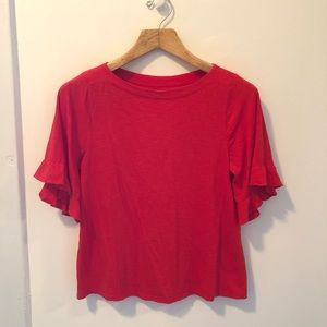 LOFT Red-Orange Ruffle Short-Sleeve Shirt